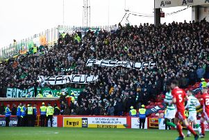 The banner in the away end at Pittodrie. Picture: SNS