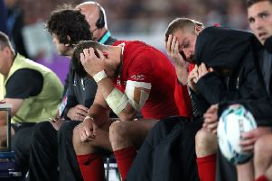 Dejection on the Wales bench during their defeat by South Africa. Picture: PA.