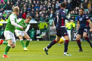 Scott Allan scores to give Hibs a 2-0 lead over Ross County on Saturday, only for the Easter Road side to be pegged bag and forced to settle for a draw. Picture: SNS.