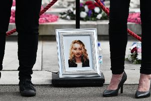 A picture of Michele Kearney who died aged 16 in 1999 of a drug overdose is displayed in Glasgow city centre to mark International Overdose Awareness Day (Picture: John Devlin)