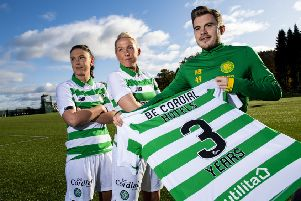 James Forrest joins Kelly Clark, left, and Chloe Craig of the Celtic women's team to announce their new three-year partnership with beCordial hotels. Picture: SNS.