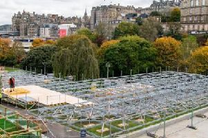 The steel scaffolding platform in Princes Street Gardens has resulted in a public outcry