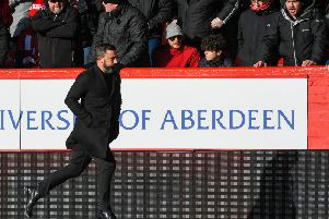 Derek McInnes at half-time of his side's recent 4-0 defeat to Celtic. Picture: SNS