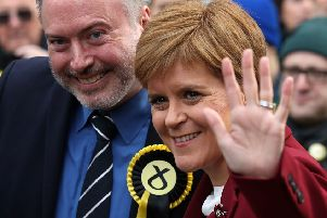 SNP leader Nicola Sturgeon joins Alyn Smith, the SNP's candidate for Stirling, on the general election campaign trail in the city. (Picture: Andrew Milligan/PA Wire)