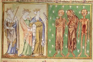A medieval artist's depiction of Black Death victims in 14th-century England