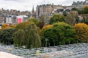 The controversial platform structure being built by underbelly for the Princes Street Gardens Christmas market