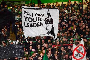 Celtic fans display an anti-fascist banner during their Europa League clash with Lazio. Picture: SNS