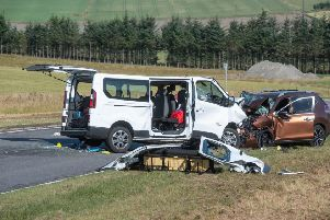 Five people died in this minibus crash on the A96 in Moray, adding to last year's road death toll. Picture: Michal Wachucik/PA Wire
