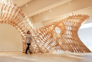 V&A Dundee's new installation is made out of more than 2000 spruce planks and beech dowels.