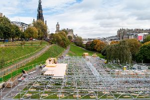 Scaffolding is erected in Princes Street Gardens East in preparation for the Christmas market. Picture: Ian Georgeson