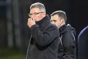 Craig Levein on the touchline during Wednesday night's defeat by St Johnstone at McDiarmid Park - his final game as Hearts manager. Picture: Roddy Scott/SNS