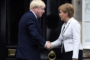 Boris Johnson meets Nicola Sturgeon at Bute House. If he wins the election he will definitely turn down any request for an independence referendum. Picture: 'Lisa Ferguson