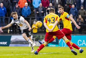 Alan Forrest scores to make it 4-0 for Ayr United. Picture: Roddy Scott/SNS