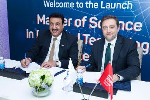 Director of the BIBF Ahmed Al Shaikh and David Hillier, associate principal and executive dean of University of Strathclyde Business School. Picture: Contributed