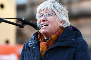 Clara Ponsati speaks at a protest in Glasgow earlier this year calling for Catalan political prisoners to be freed. Picture: John Devlin