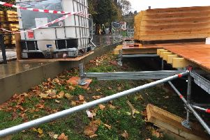 Pictures showing plywood supporting the Christmas Market scaffold structure (Photo: Laura Mahady)