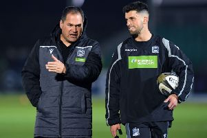 Glasgow Warriors coach Dave Rennie with stand-off Adam Hastings. Picture: Ross Parker/SNS