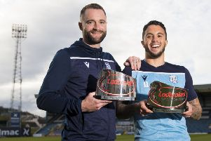 Dundee head coach James McPake and midfielder Declan McDaid with the Ladbrokes Championship Manager and Player of the Month Awards for October. Picture: Ross MacDonald/SNS