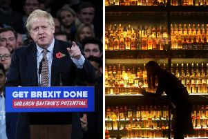 The Prime Minister will visit a whisky distillery in Moray as producers struggle to respond to a 25 per cent tariff imposed by Mr Johnsons ally, US president Donald Trump. Picture: PA