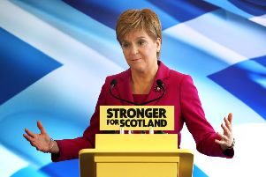 Nicola Sturgeon speaks at the party's General Election campaign launch in Edinburgh. Picture: PA