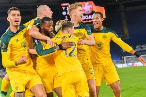 Celtic's French midfielder Olivier Ntcham (3rdL) celebrates with team-mates after scoring the winning goal during the Europa League Group E match against Lazio in Rome. Picture: Tiziana Fabi/AFP via Getty Images