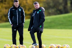 Eddie May, right, and Grant Murray prepare the Hibs team for this weekend's crucial trip to Perth. Picture: SNS