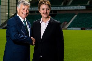 Hibs chief executive Leeann Dempster with club owner Ron Gordon. Picture: SNS