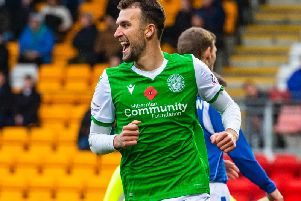 Christian Doidge celebrates against St Johnstone