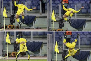 In this combined picture, clockwise from top left, Celtic's Olivier Ntcham does a backward flip after scoring his side's winning goal during the Europa League group E match against   Lazio
