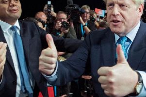 Chancellor Sajid Javid and Prime Minister Boris Johnson at the Conservative Party conference in Manchester