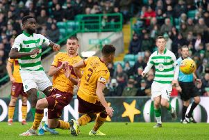 Odsonne Edouard opens the scoring for Celtic in their victory over Motherwell. Picture: SNS