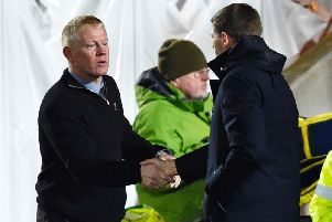 Gary Holt and Steven Gerrard shaking hands at full-time. Picture: SNS