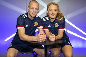 Scotland women's team player Erin Cuthbert joined Steven Naismith at a Scotland national team kit launch at JD Sports in Glasgow yesterday. Naismith is back in the Scotland team after being out of the Hearts side for two months with a hamstring injury. Picture: Ross MacDonald/SNS
