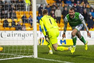 Hibs forward Christian Doidge celebrates his hat-trick to make it 4-0 during the Premiership match against St Johnstone. Picture: Alan Harvey/SNS