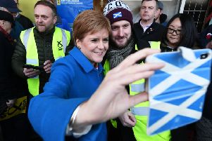 Nicola Sturgeon joined young activists on the campaign trail. Picture: John Devlin