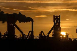 The British Steel plant at Scunthorpe