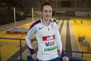 Laura Muir at the Emirates Arena in Glasgow, where she will try to break the 1,000m record. Picture: Jeff Holmes.