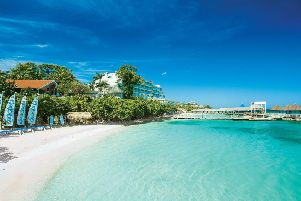 One of the beaches at the Sandals Ochi Beach Resort on the north coast of Jamaica