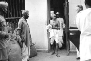 Mahatma Gandhi, a champion of peaceful protest, leaves a Kolkata jail after interviewing political prisoners in 1938 (Picture: Keystone/Getty Images)
