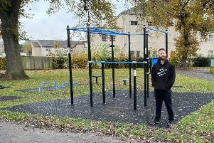 Ali Hay at the new all-access fitness equipment in Shedden Park, Kelso.