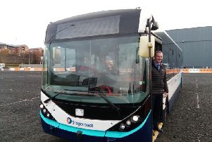 Transport secretary Michael Matheson about to take a trip on the bus. Picture: The Scotsman