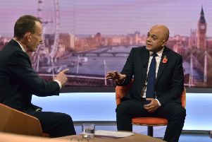 Sajid Javid defends his spending plans, while attacking Labour's on the BBC's Andrew Marr Show (Picture: Jeff Overs/BBC Picture Publicity via Getty Images)
