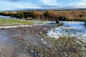 The site after gravel was laid in a bid to repair the ground. PIC: Andrew McKenzie.