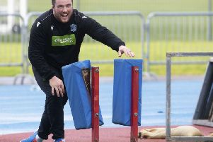 Glasgow's Zander Fagerson during a training session at Scotstoun. Picture: Craig Foy/SNS/SRU