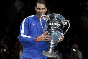 Rafa Nadal at the 02 with his trophy for ending the year at No 1. Picture: Julian Finney/Getty