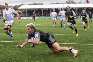 DTH Van der Merwe scores during the Champions Cup match between Glasgow and Sale at Scotstoun. Picture: Gary Hutchison/SNS/SRU