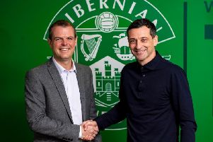 Graeme Mathie (left) with new Hibs head coach Jack Ross