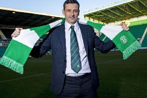 Jack Ross dons the green and white of Hibs at Easter Road.