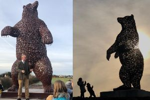 The five-metre high steel bear was sculpted by renowned Scottish artist, Andy Scott, the man behind the Kelpies'.