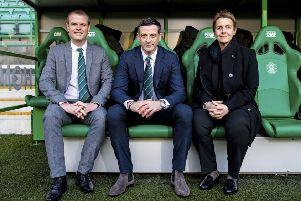 Hibs chief executive Leeann Dempster with new manager Jack Ross, centre, and sporting director Graeme Mathie in the home dug-out at Easter Road. Picture: Craig Williamson/SNS